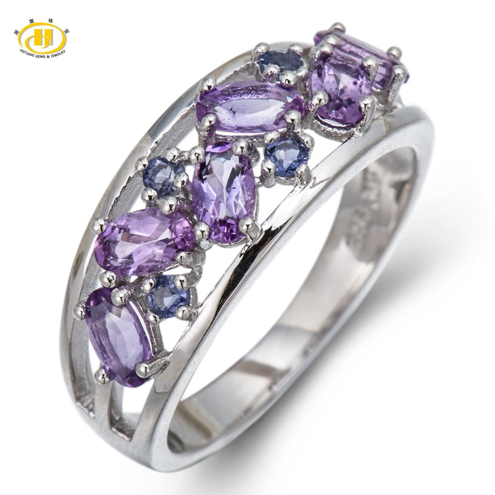 Hutang 1.25Ct Genuine Amethyst Iolite Engagement Ring Solid 925 Sterling Silver Fine Fashion Stone Jewelry Best Friends Gift New