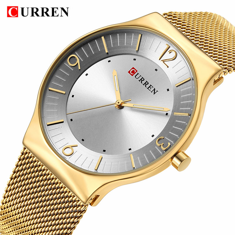 цена на 2018 New Curren Men Quartz Watch Top Brand Luxury Gold Stainless Steel Business Mens Watches Male Sport Clock Relogio Masculino