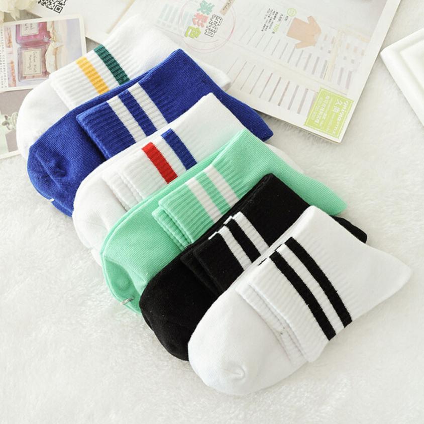 2019NEW Classic Women Girls Two Stripes Cotton   Socks   Retro Old School Student Hiphop Skate Fashion white harajuku Korean #TH