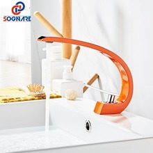 цена на Contemporary Basin Faucet for Bathroom Sink Faucet Design Basin Mixer Deck Mounted Hot Cold Tap Copper Water Tap Color Faucet