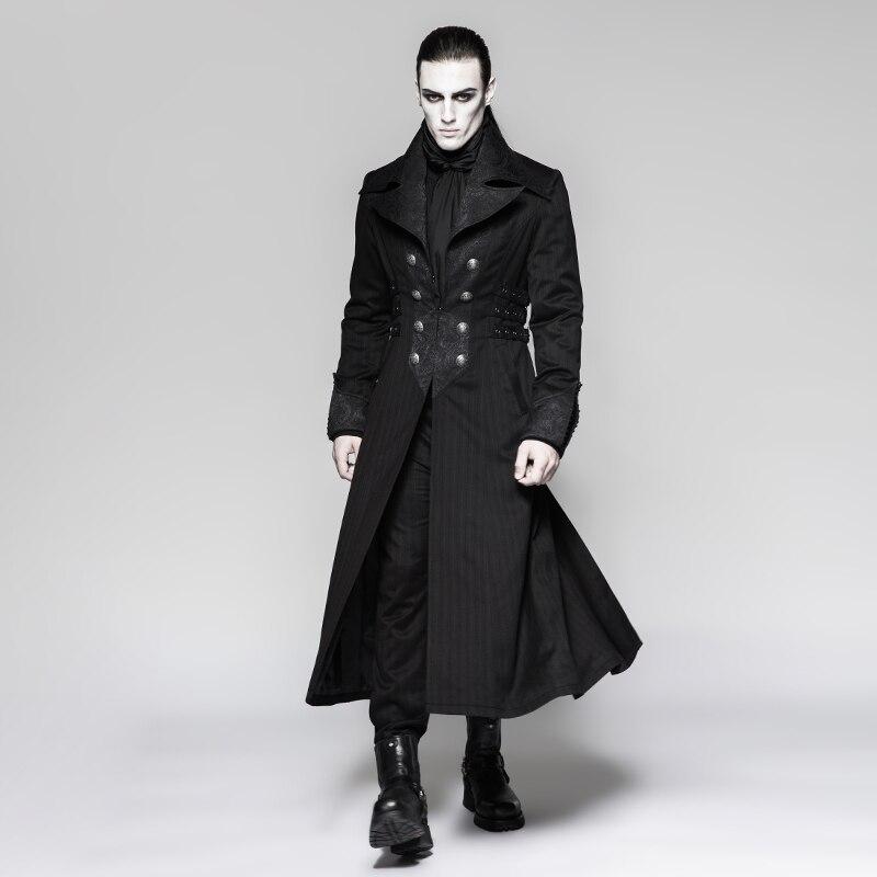 Chaqueta larga Steampunk para hombre negro a rayas Rojo abrigo de rayas abrigos de invierno etapa rendimiento personalidad Cosplay traje - 4