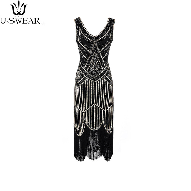 U-SWEAR Women 1920s Great Gatsby Vintage Fringe Flapper Dress Girl Sequin  Bead Sleeveless Summer Dress Vestido De Fiesta f828616da8e6