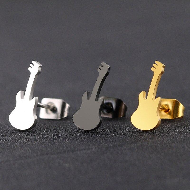 Stainless Steel Guitar Stud Earrings for Music Fans