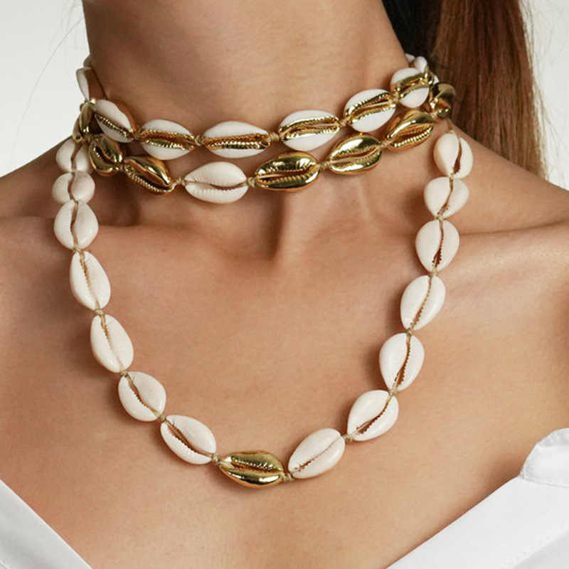Fashion White Natural Cowrie Shell Choker Necklace for Women Metal Shell Pendant Necklace Statement Collier Gold Color Jewelry
