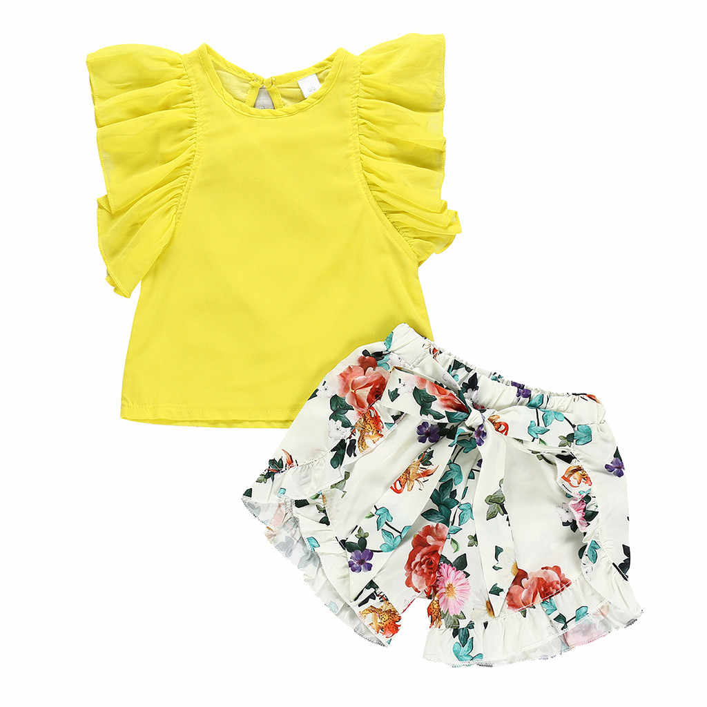 Toddler Baby Girls Sets Sleeveless Ruffles Yellow Tops+Floral Print Shorts Child Clothes Kids Outfits 12 Months to 5 Years Suit