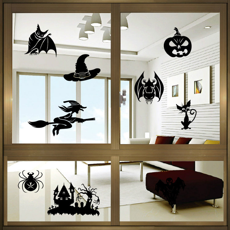Creative Witch Ghosts Bat Pumpkin Decal Halloween Wall Sticker ...