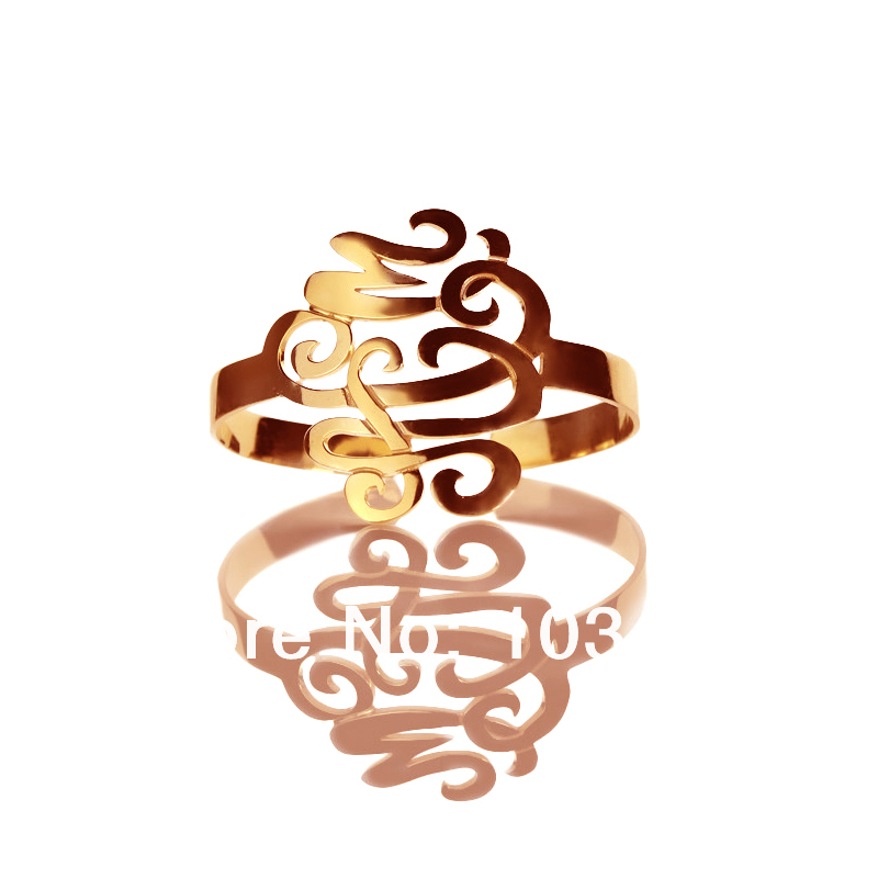 AILIN Personal MO Bracelets Rose Gold Color Customized Cut 3 Hand painted Stereoscopic Monogram Initial 1.6 Inch Name BraceletAILIN Personal MO Bracelets Rose Gold Color Customized Cut 3 Hand painted Stereoscopic Monogram Initial 1.6 Inch Name Bracelet
