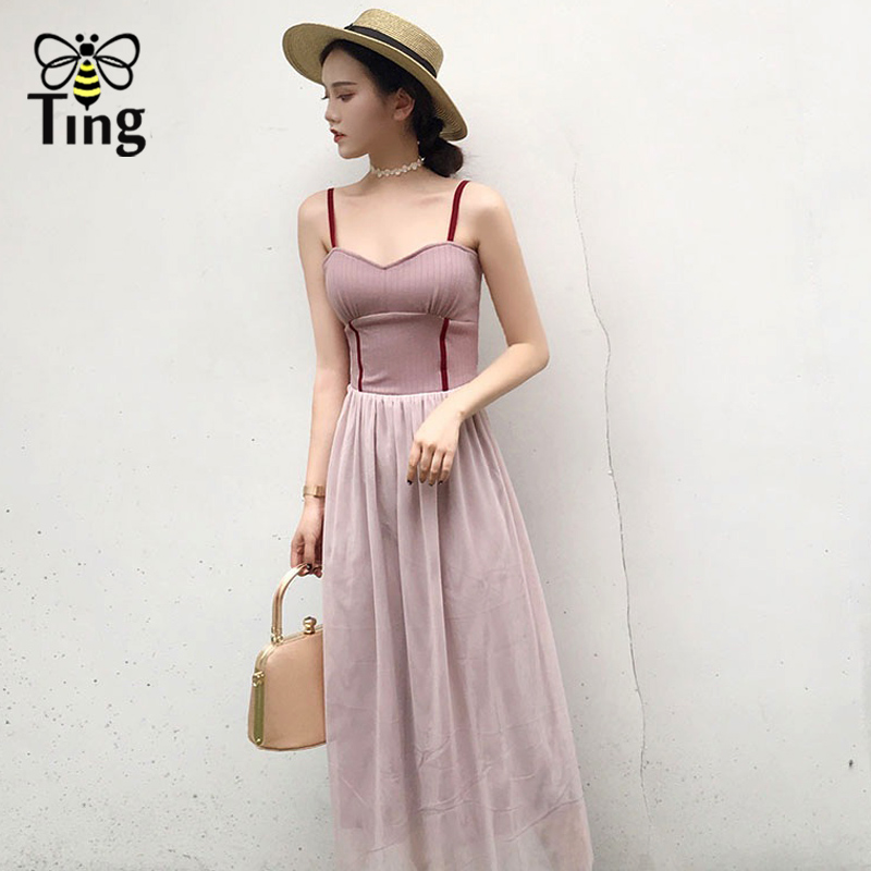 Tingfly Elegant Vintage Women Long Midi dress Spaghetti Strap Slim Mesh  Fairy Dresses Pink Summer Casual party dresses Vestidos-in Dresses from  Women s ... c853f69129fc