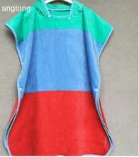 80 x 65cm blue red or purple patchwork bathrobe 100% cotton children large size adult wearable bath towel with cap T112
