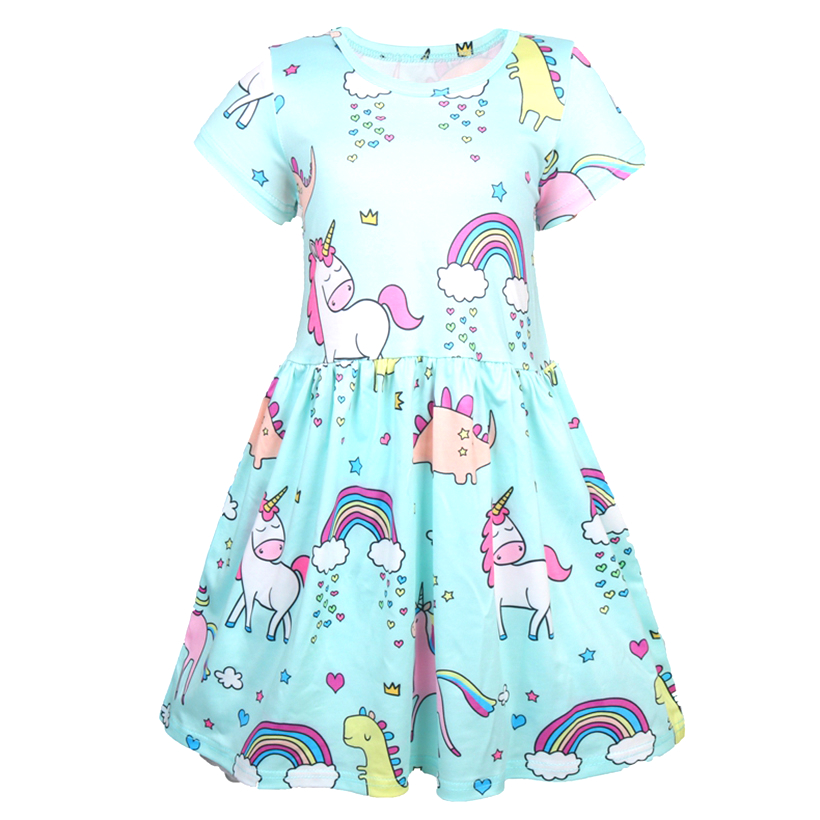 2019 summer Baby girl clothes unicorn dress kids dresses for Girls Halloween costume cosplay Party Vestidos 1212