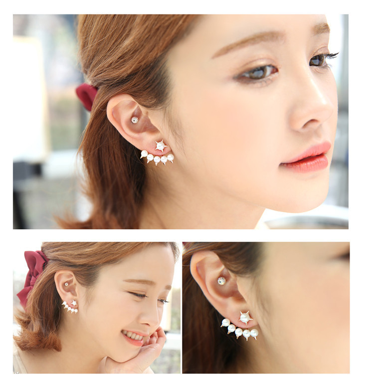 2016 New Fashion Five Pointed Star pearl earrings fashion earring ...