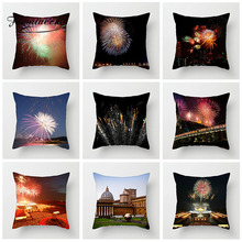 Fuwatacchi Fireworks Cushion Cover Gorgeous Classical Building Pillow Case For Home Sofa Chair Decoration Pillowcases