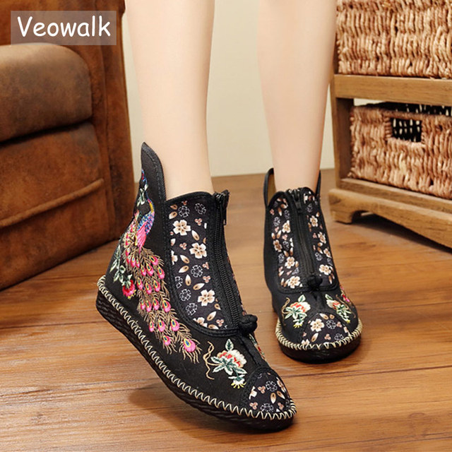 Veowalk Peacock Embroidered Women Canvas Flat Short Boots, Vintage Chinese Embroidery Cotton Booties Ladies Shoes Front Zippers