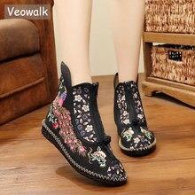 Veowalk pavão bordado mulher lona plana botas curtas, vintage chinês bordado botinhas de algodão senhoras sapatos zíperes dianteiros