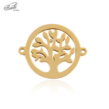 Badu DIY Tree Pendant Accessories Golden Zinc Alloy Round Accessory Neckalce/Bracelet Pendant Wholesale недорого