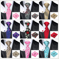 Fashion Floral and Paisley Mens Tie 8.5cm Silk Ties Handkerchief Cufflinks Gravatas Ties for Men Wedding Suits Corbatas Tie Set