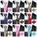 Moda Floral e Paisley Laço Dos Homens 8.5 cm de Seda Laços Corbatas Gravata Lenço Abotoaduras Gravatás Laços para Homens Ternos de Casamento conjunto