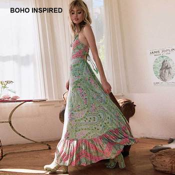 b783c416c5 33% off. boho dress 2018 strappy sage print summer dresses loose Casual  ruffle neckline ...