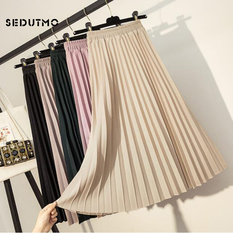 SEDUTMO Spring Pleated Skirts Women High Wiat Midi Skirt Slim Autumn Black Vintage Black Classic Tutu Skirt ED609