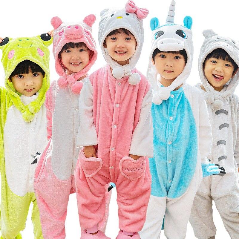 20 Style 4-12Y Boys Girls Cartoon animals Children pajamas Flannel Stitch Animal Pajamas Kid Pajama sets Onesies Children Cloths