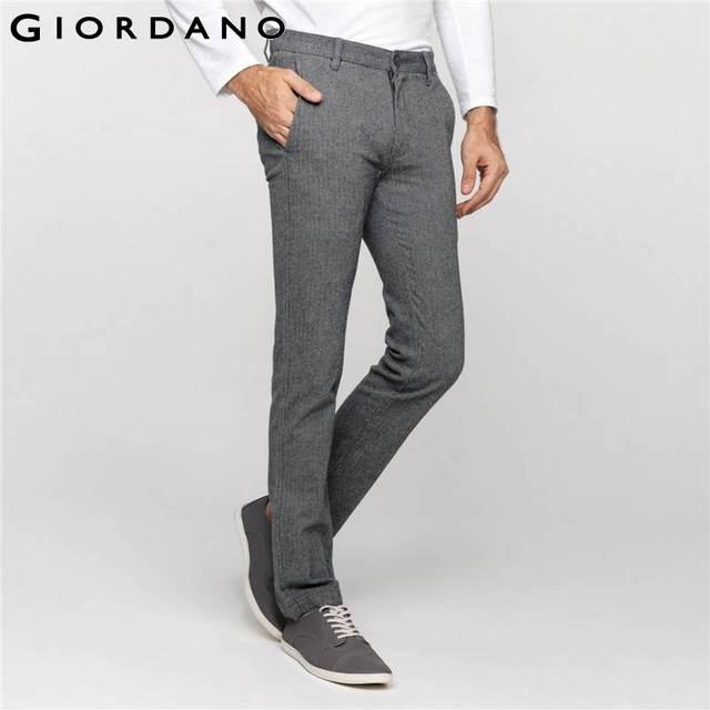 f7a930f73b537f Giordano hombres pantalones pantalones cónicos pantalones de vestir para  hombre slim fit cotton soft cotton casual