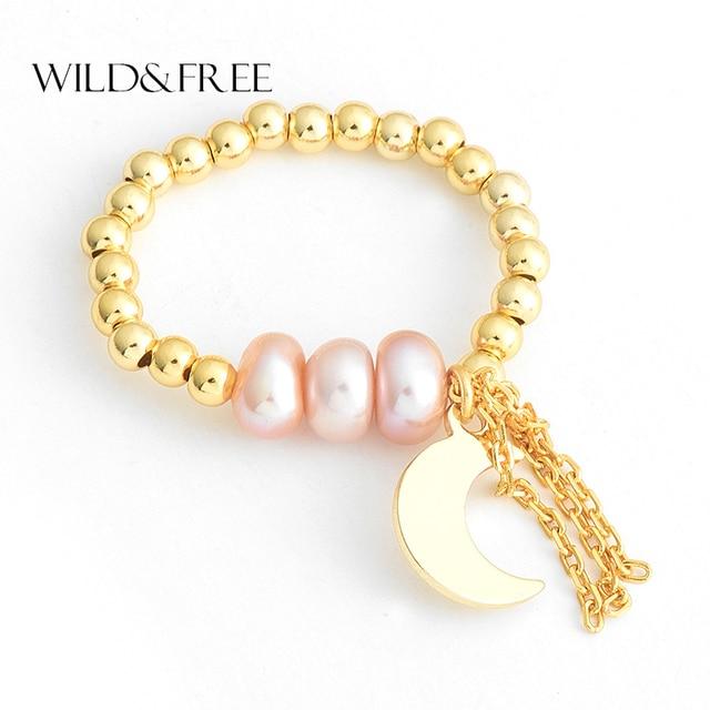 Sauvage et gratuit 2018 nouvelle perle d'eau douce complet perle anneaux or lune lien pendentif réglable 925 bijoux en argent Sterling à la main