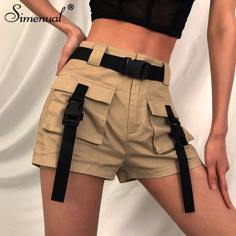 Simenual Streetwear Casual Women   Shorts   Summer 2019 Fashion   Short   Pants Femme Harajuku Pockets   Shorts   High Waist Slim   Shorts   New