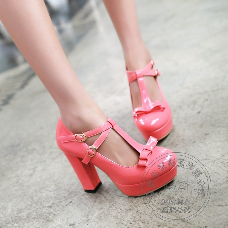 Pu College Style Pu Round Toe T Strap Safety Summer Style Cheap Heels Small Fresh font
