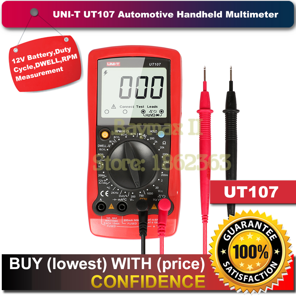 UNI-T UT107 LCD Automotive Handheld Multimeter AC/DC voltmeter Tester Meters with DWELL,RPM,Battery Check цены