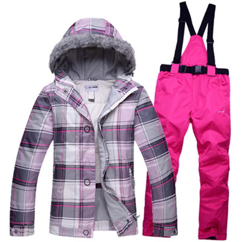 Prix pour Pas cher Neige Custome Femmes Snowboard Vêtements De Ski Dame ensembles de costume coupe-vent imperméable épais chapeau Chaud avec cheveux vestes + Offre pantalon