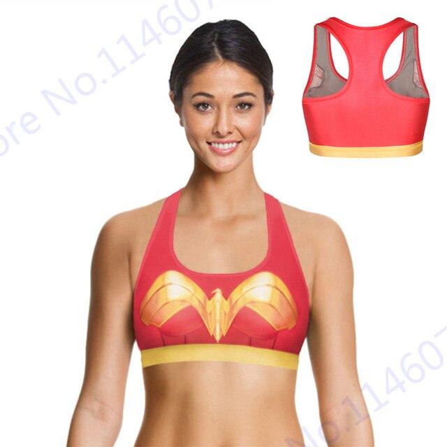e64b2d991714 Wonder women deportes running bras ropa interior de fitness sexy mujer  maravilla yoga bras sujetador rojo