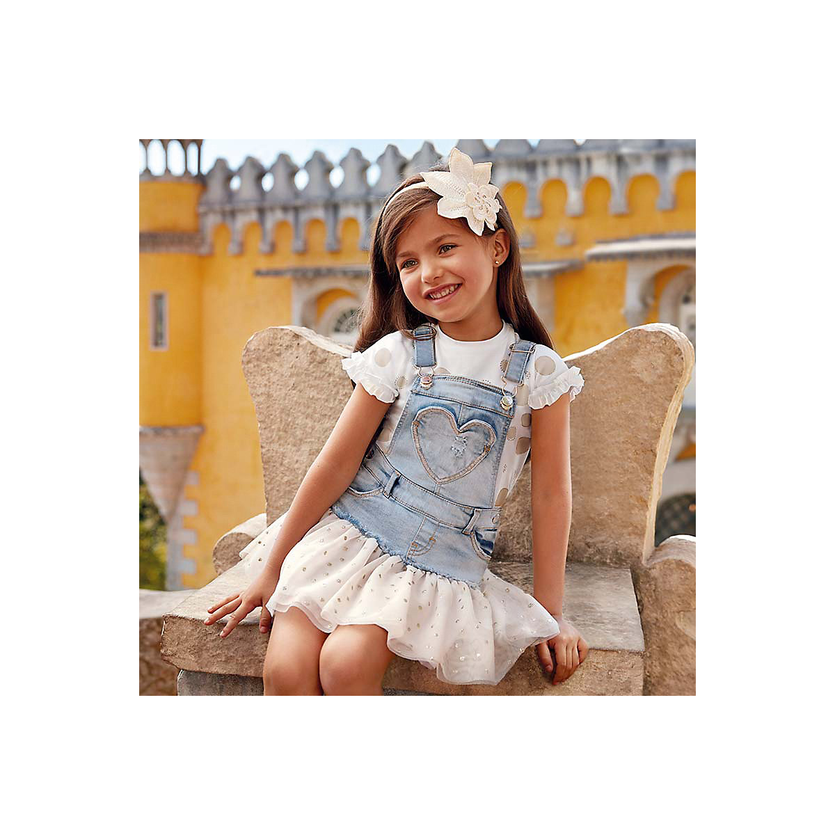 Dresses Mayoral 10690807 Casual dress with short sleeves sundress for girls family matching outfits short sleeves white red kids girls paternity skirts mommy and daughter lace dresses mother