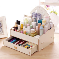 Fashion Desktop Cosmetic Women DIY Storage Boxes Lovely Gril Organizer Make Up Lipstick Storage Powder Box