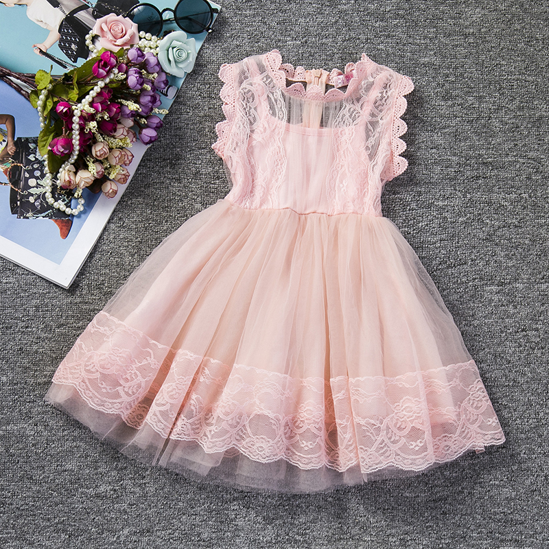 все цены на Pink Kids Baby Girls Party Dresses Lace Princess Dress For Baptism Wedding Children Clothing Girl Tulle Tutu Dress 2-6 Years онлайн