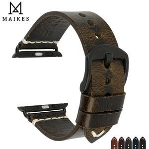 Image 5 - MAIKES שעון אביזרי אמיתי פרה עור עבור אפל שעון להקות 44mm 42mm & iwatch רצועת 40mm 38mm סדרת 4 3 2 1 צמידים