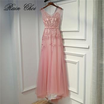2019 Pink Evening Dress Long A Line Appliques Sequin Tulle Formal Party Gowns Elegant Women Evening Dresses
