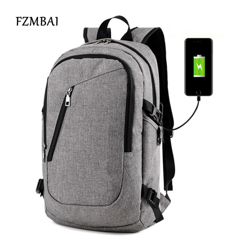 FZMBAI Unisex Leisure Travel Double Shoulder Bag with USB Charger Port Male College Student Oxford Computer Backpack