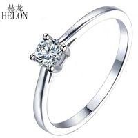 HELON Solitaire 3.8มิลลิเมตรรอบMoissanitesแหวนของแข็ง14พันสีขาวทองMoissanitesหมั้นแหวนแต่งงานสำหรับผู้หญิงเครื่องป...