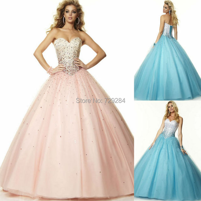 Sweetheart Ball Gown Pink Princess Prom Dress With Beaded Bodice ...