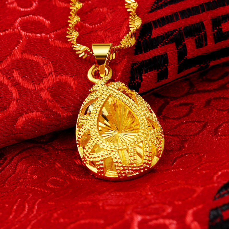 Liffly 24K Gold Necklace Women Fashion Jewelry Wedding Engagement Water Drop Pendant Necklaces Fine Jewelry Gift in Pendants from Jewelry Accessories