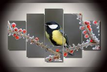 HD Printed Red Fruits And Birds Painting Canvas Room Decoration Print Picture Unframed Artworks Household Products