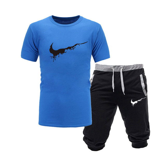 2019 New Men Fashion Two Pieces Sets T Shirts+Shorts Suit Men Summer Tops Tees Fashion Tshirt High Quality men clothing