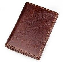 HOT!!! 100% Cowhide Leather ID Card Holder Slim Credit Card Case High Quality Vintage Designer