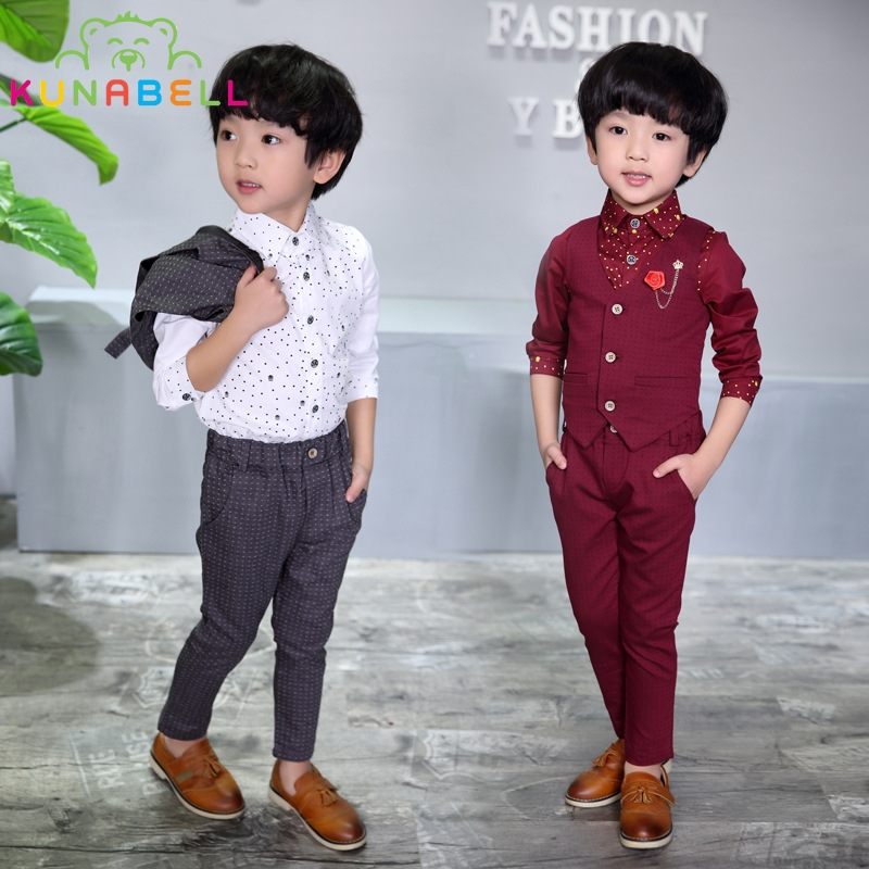 2017 Brand Fashion Boy Wedding Suit Gentle Baby Boys Vest Shirt Pants Formal Party Suit Children