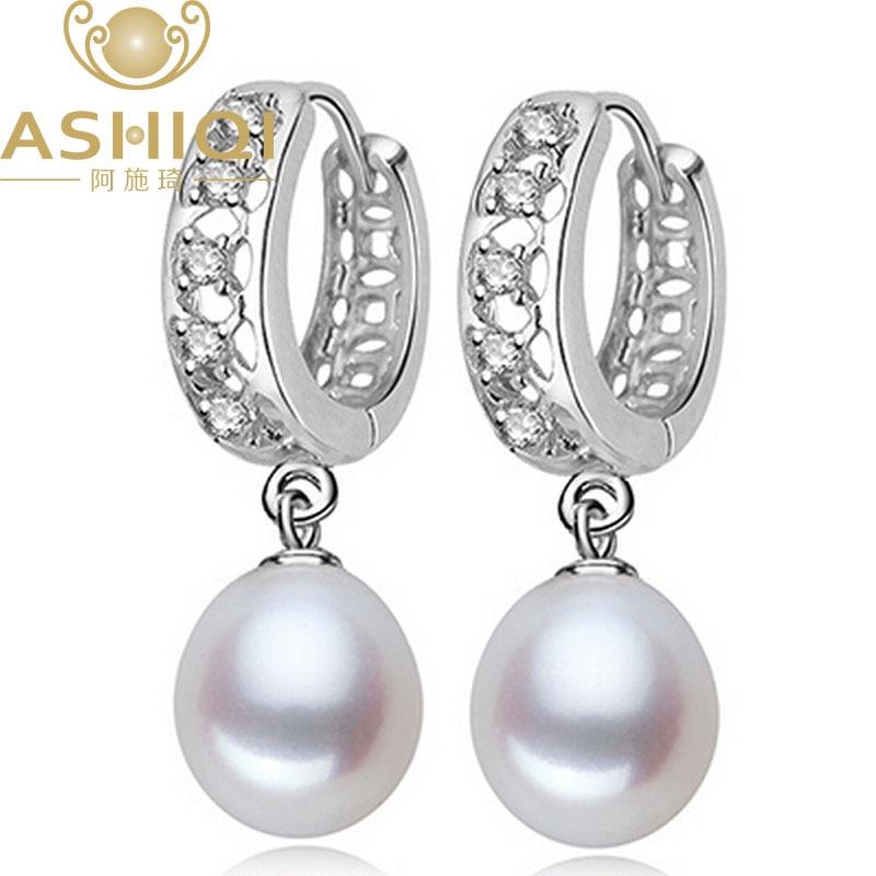ASHIQI Natural Freshwater Pearl earring for women jewelry Pearl hoop earrings Cubic Zirconia best gift faux pearl bead circle hoop earrings