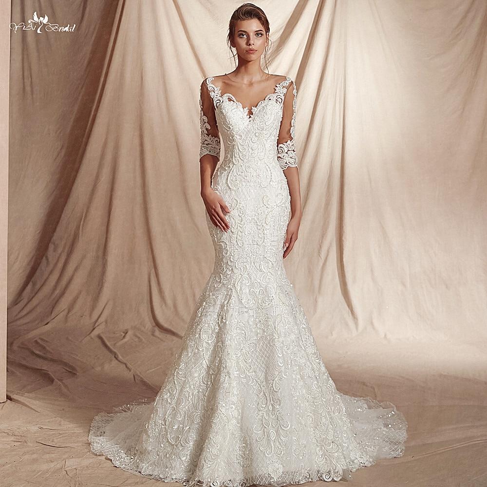 RSW20 New Arrival Real Job Luxury Sequin Lattice Shine Glitters Fabric  20/20 Sleeves Mermaid Wedding Dress