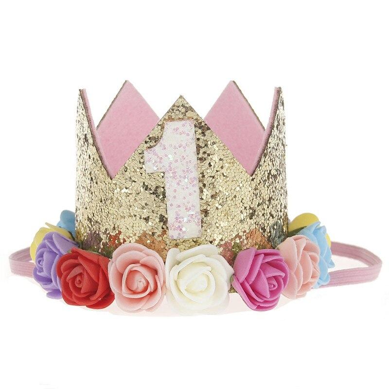 Искусственная нежная мини-фетровая блестящая корона с цветком повязка на голову для дня рождения Сделай Сам одежда для волос декоративные аксессуары - Цвет: Насыщенный сапфировый