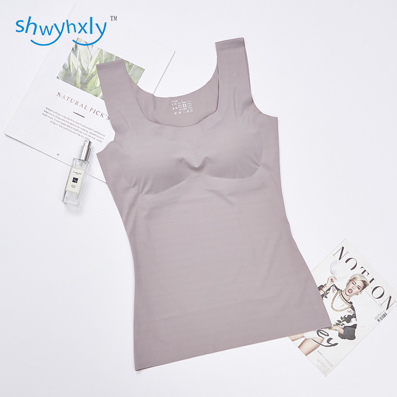 One Piece Push Up Massage Cup with Seamless and Wireless High Quality Ice Cool Fabric Long Sleeveless Vest Detachable chest pad in Camisoles Tanks from Underwear Sleepwears