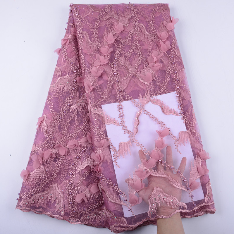 African Mesh Tulle Lace Fabric New Design Nigerian Evening Dresses Net Material African French Lace Fabric 5 Yards A1446-in Lace from Home & Garden    1
