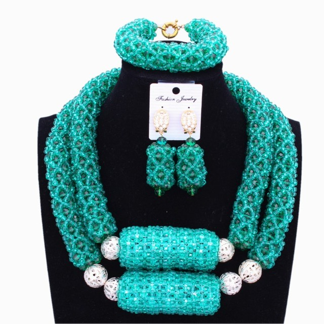 Dubai Jewelry Sets In Nigerian Wedding Sets Teal Green With Big Balls African necklace Set Silver Balls On Free Shipping 2018